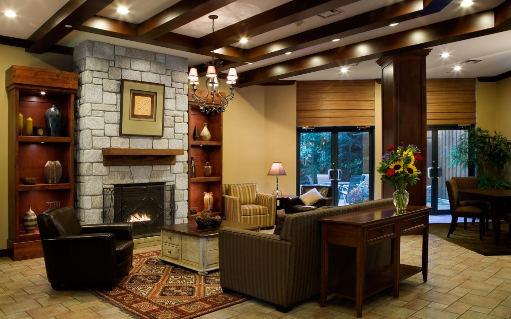 interior-ideas-astounding-living-room-designs-by-brown-sofa-on-the-area-rug-combined-with-stone-fireplace-between-wooden-shelves-also-lamps-on-the-white-wooden-ceiling-amazing-living-room-designs-to